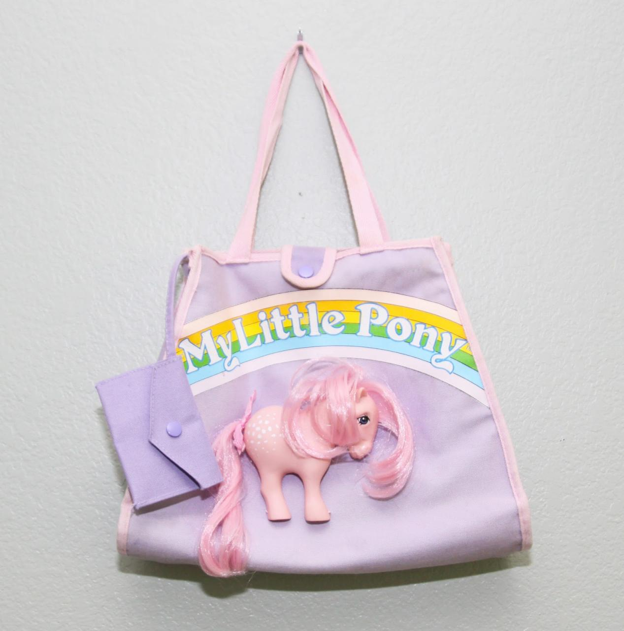 The infamous vintage My Little Pony Cotton Candy pony purse with half a pony sewn on
