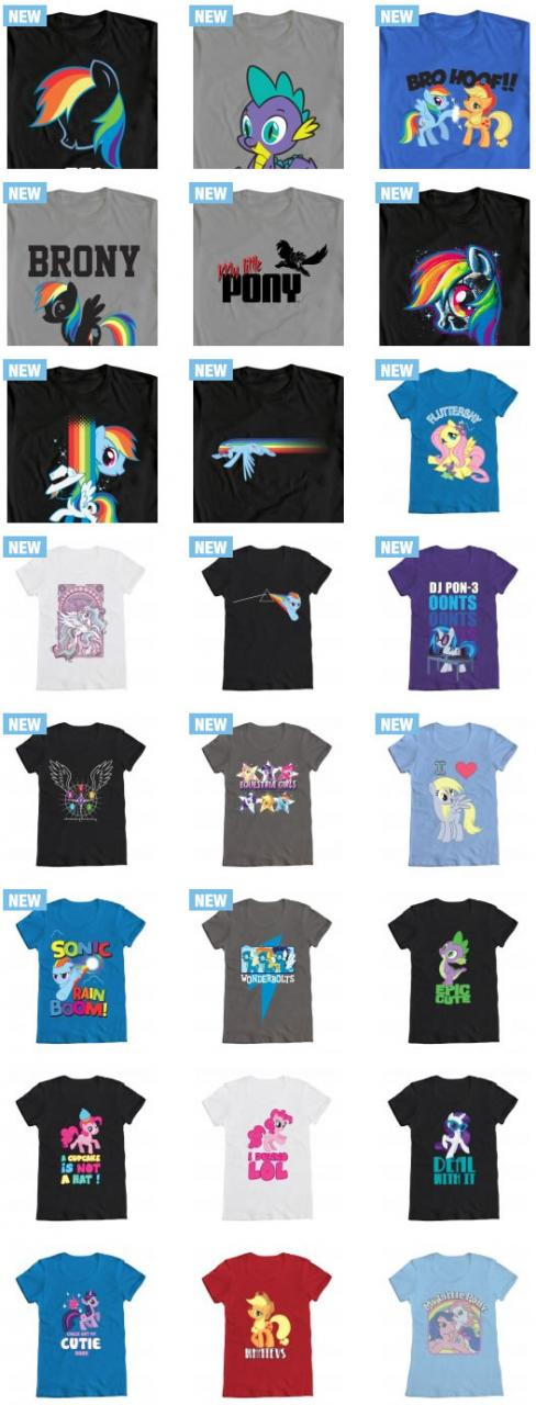 My Little Pony: Friendship is Magic t-shirts in adult and plus sizes (for women and men). Also, new designs.