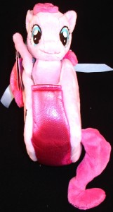 Pony Tail Carrier with 6.5 inch plush Pinkie Pie side view