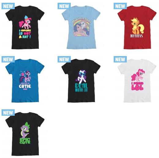 New My Little Pony T-shirts including vintage Firefly & Sundance, Friendship is Magic Spike & Pinkie Pie