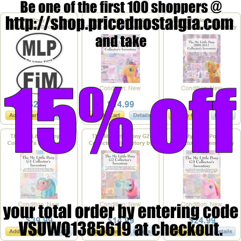Take 15% off My Little Pony price guides and stickers and they'll arrive by Christmas!